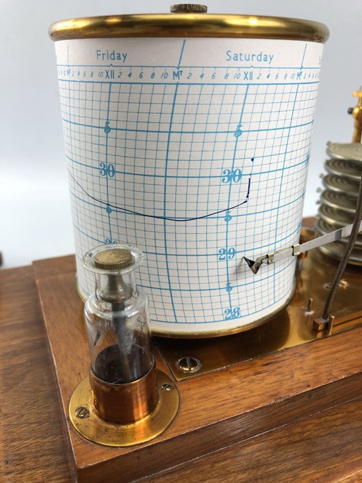 Lot 166 - Vintage seven day Glass cased Barograph with brass fittings and a draw beneath with original