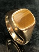9ct gold ring set with tigers eye stone, maker CPS, marked 375, fully hallmarked, size approx T,