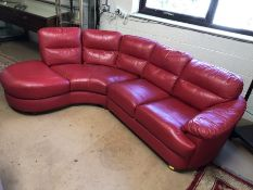 Red two piece sectional retro-style sofa