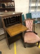 Small bureau bookcase, approx 112cm tall along with an antique bedroom chair with pink upholstery