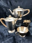 London Hallmarked Silver Tea and Coffee set by Edward Barnard & Sons Ltd Comprising; Coffee Pot; Tea