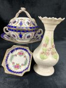Collection of three pieces of Dresden ceramics with floral design to include a lidded bowl with