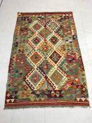 Vegetable dye wool chobi kilim rug approx 153cm x 99cm