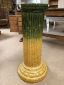 Ceramic jardiniere stand with bamboo design and yellow to green colourway, approx height 80cm (A/F)
