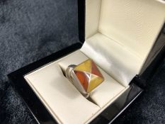Two Colour Amber set Silver hallmarked ring size 'O'