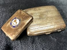 "Two Silver coloured cigarette boxes one with enamel badge which reads ""British Empire Exhibition"