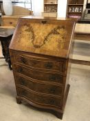 Reprodux by Bevan Funnell Ltd - small reproduction mahogany bureau with four serpentine drawers,