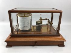 Vintage seven day Glass cased Barograph with brass fittings and a draw beneath with original