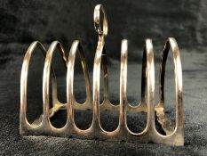 Sheffield Hallmarked Silver toast rack by maker Atkin Brothers (total weight approx 141g)