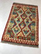 Vegetable dye wool chobi kilim rug approx 124cm x 80cm