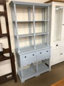 Blue painted dresser with open shelves and cupboards under approx 98cm wide