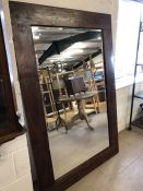 Very Large Rustic wooden framed bevel edged mirror approx 120 x 180cm