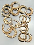 Collection of eight pairs of unmarked Gold coloured earrings (total weight approx 10.6g)
