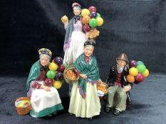 Four Royal Doulton figures: The Balloon Man HN1954, The Orange Lady HN1953, The Old Balloon Seller