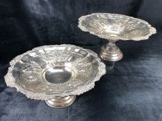 Pair of large silver plated embossed tazzas by Walker and Hall approx diameter 37cm