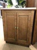 Corner cupboard with two internal shelves, brass handles and separate marble top, approx 73cm x 37cm