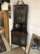Corner display cabinet with inlay detailing, with two velvet lined glass-fronted cupboards and