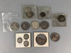 Collection of silver coins both American and British