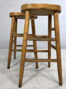 Pair of pine bar/breakfast bar stools, approx 75cm in height