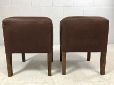 Pair of brown faux suede upholstered stools, approx 47cm in height