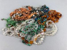 Collection of various beads and necklaces to include Agate and crystal