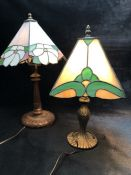 Two table lamps with Tiffany style glass shades, approx 39cm and 45cm tall