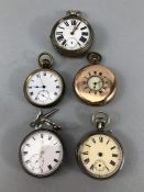 Collection of five pocket watches (one hallmarked silver) A/F