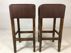Pair of brown faux suede upholstered bar/breakfast bar stools, approx 78cm in height