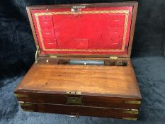 Large brass bound Victorian campaign writing slope with green leather slope, red leather organiser