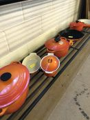 Collection of 'burnt orange' Le Creuset cookware to include, griddle pan, small, medium and large