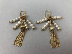 Pair of 18ct Gold earrings set with pearls and gold tassels (total weight approx 12.5g