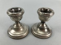 Pair of small squat candlesticks Hallmarked Birmingham by S J Rose & Son (approx 7cm tall)