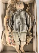 Chinese Linen Doll in pin-strip suit approx 35cm tall