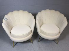 Pair of modern Art-Deco style white velvet scalloped back chairs with brass coloured legs, approx