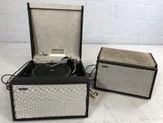 A vintage Hacker Gondolier mains electric transportable record reproducer, model number GP42, with