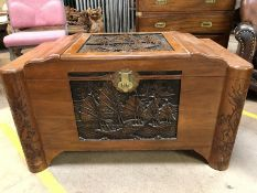 Camphor style chest with oriental design, approx 104cm x 52cm x 50cm tall