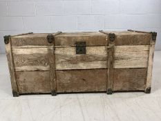 Vintage pine trunk with original metal fittings approx 94cm x 42cm x 40cm tall