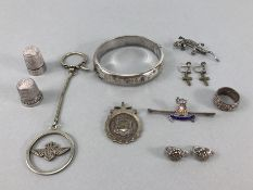 Collection of silver items to include Hallmarked bangle marcasite gecko brooch, hallmarked silver