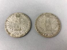 Coins: Two coins all Marie Therese Thaler dated 1780