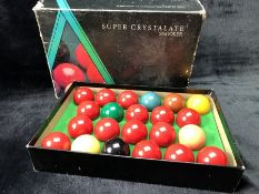 Super Crystalate snooker balls, full set and boxed