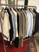 Collection of approximately twenty vintage men's suits and coats to include Hilditch and Key, Gieves