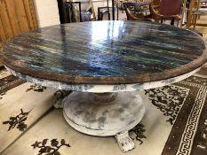 Oak tilt top table with modern paint effect, approx 138cm in diameter