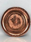 Johnnie Walker copper tray, approx 34cm in diameter