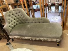 Green upholstered chaise longue, approx 150cm in length