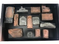 Collection of Fifteen vintage copper printing blocks to include images of guns, bird cages, lanterns