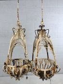 Pair of ornate Victorian wrought iron white painted plant hanging baskets, approx 65cm in length