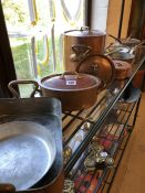 Collection of copper pans of varying sizes, approx 12 items