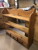 Pine hanging shelving unit with three shelves and three drawers approx 90cm x 90cm x 16.5cm