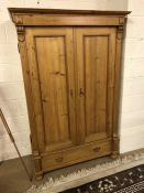 Antique Pine wardrobe with hanging rail and drawer under, approx 115cm x 57cm x 175cm tall