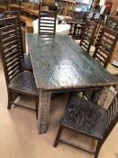 Contemporary dining table with two drawers and six high ladder-backed dining chairs. Table approx